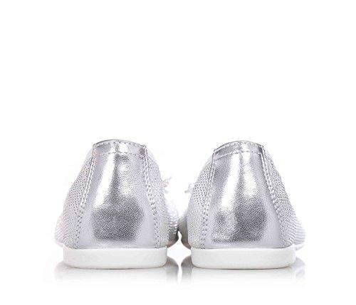 FLORENS - Ballerine gris argenté en tissu et cuir, arc sur la partie antérieure, logo en métal et semelle en caoutchouc, Fille, Filles, Femme, Femmes