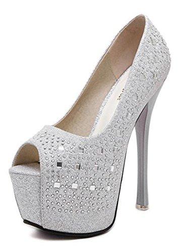 Platform Toe Silver Stiletto Heel Pumps On Womens Rhinestone Sexy Slip Top Heel Low Peep CHFSO F67Xxqw4