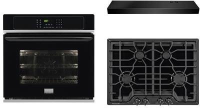 """Frigidaire Gallery 3-Piece Kitchen Package With FGGC3045QB 30"""" Gas Cooktop, FGEW3065PB 30"""" Electric Single Wall Oven and FHWC3025MB 30"""" Under Cabinet Convertible Hood in Black"""