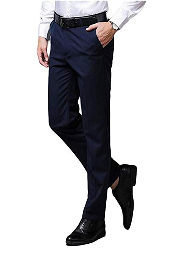Yulain Mens Classic Dress Pants Flat Front Suit Pants Wrinkle-Free Casual Pants Trousers