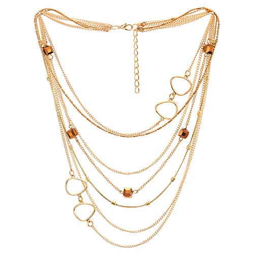 (COOLSTEELANDBEYOND Gold Statement Necklace Waterfall Multi-Strand Chain with Cube Crystal Bead and Circle Charm, Dress)