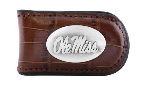 NCAA Mississippi Old Miss Rebels Zep-Pro  Crocodile Leather Magnet Concho Money Clip, Tan