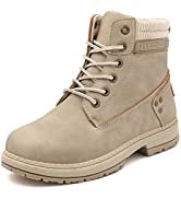 Athlefit Women's Work Waterproof Hiking Combat Boots Lace up Low Heel Booties Ankle Boots