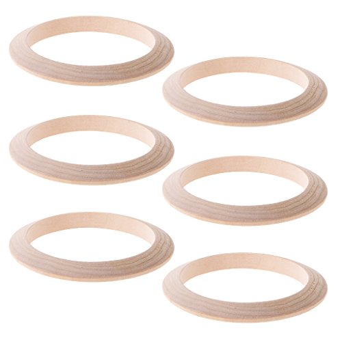 Baosity 6Pcs 9mm Width Unfinished Wooden Bracelet Cuff Bangle Handmade Wood Bracelet -