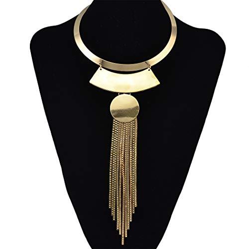 Gold Silver Choker Bib Collar Necklace Long Chain Tassel Geometric Necklaces