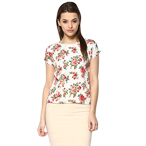 mayra Women #39;s Crepe White Color Half Sleeve Top