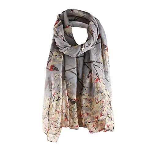 HULKAY Fashion Scarves Floral Bird Print Wrap Scarf Shawls for Womens(Gray)
