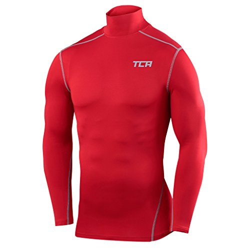 (TCA Men's Boys Pro Performance Compression Shirt Long Sleeve Base Layer Thermal Top - Mock Neck - Team Red M)