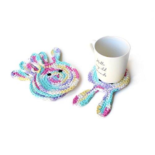 Crochet Easter Bunny drink coasters by Geekirumi! - Cotton yarn applique - Candy color (set of 4) ()