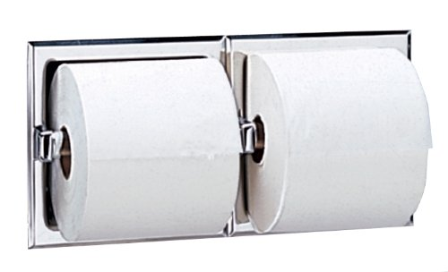 Bobrick 697 304 Stainless Steel Recessed Dual Roll Toilet Tissue Dispenser with Mounting Clamp, Bright Finish, 12-5/16'' Width x 6-1/8'' Height