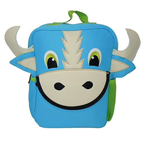 (Sammy Toddler Mini Bull Backpack, Washable Kids Bag by Animal Packers (Blue))