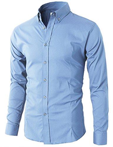 H2H Men's Slim Fit Solid Dress Shirt Sky US XL/Asia 4XL (KMTSTL0489)