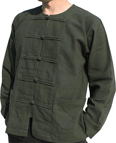 Raan Pah Muang RaanPahMuang Thick Muang Cotton Frog Button Round Thai Collar Shirt or Jacket, Medium, Hunter Green (Cotton Thai Craft)
