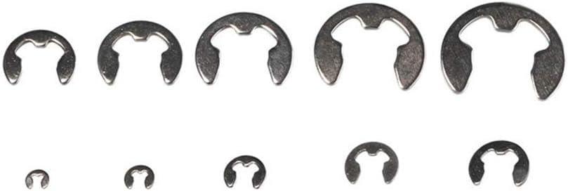 Neborn 120 st/ücke 1,5mm 2mm 3mm 4mm 5mm 6mm 7mm 8mm 9mm 10mm Edelstahl E Clip Sicherungsring haltering f/ür Welle Verschluss