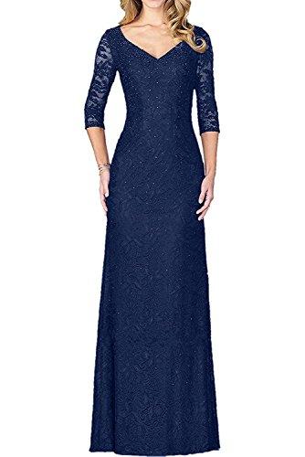 Kleider Jugendweihe La mit mia Brautmutterkleider Braut Langarm Blau Lang Schwarz Abendkleider Spitze Partykleider Navy RzA8R