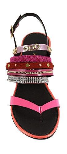 CAF NOIR GD923 múltiples bliu pulsera de las mujeres sandalias de tiras de color turquesa diamantes de imitación 1758 MULTIFUXIA