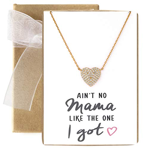 A+O Gift for Mom, Mother Jewelry - CZ Heart Pendant Necklace in 14K Gold Vermeil