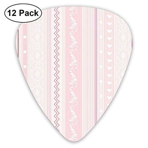 Celluloid Guitar Picks - 12 Pack,Abstract Art Colorful Designs,Vertical Borders Floral Figures Little Hearts Lines Zigzag Chevron,For Bass Electric & Acoustic Guitars.