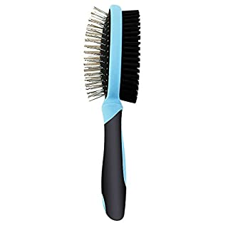 Happy & Polly Pet Comb Double Side Grooming Brush Stainless Steel Pin and Bristle Shedding Comb for Removing Pets' Matted Fur, Knots and Tangle swith Silicone Handle for Dogs Cats Pets (B0087V7W78) | Amazon price tracker / tracking, Amazon price history charts, Amazon price watches, Amazon price drop alerts