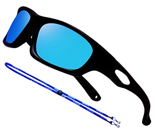 COOLSOME Bendable Rubber Kids Polarized Aviator Sunglasses Boys Girls Sunglasses Fit Age 4-10 Yrs (Mirror Blue Sport)