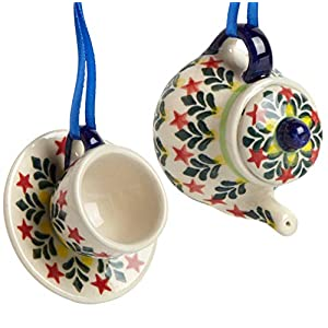 Set of 2 Polish Pottery Fern Tree Leaves Teapot & Cup with Saucer Handmade Ceramic Christmas Ornaments, 3.25″Dia. x 2.5″H (Red Stars)