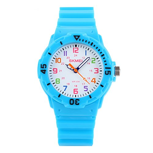 Kids 50M Waterproof Watch,PU Band Wrist Watch for Boys Girls, Light Blue by GRyiyi