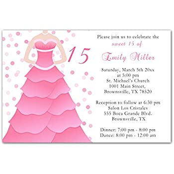 Amazon 30 invitations pink dress polka dots design birthday 30 invitations pink dress polka dots design birthday party sweet 15 quinceanera personalized cards 30 m4hsunfo