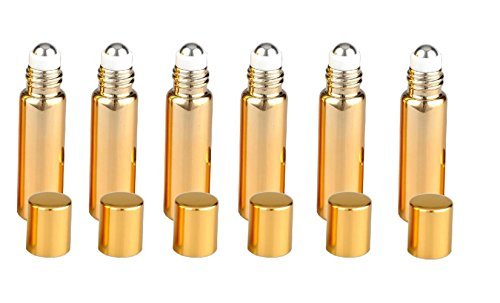 6PCS 5ml Empty Upscale Glass UV Coated Roll-On Bottle Roll On Container With Stainless Steel Roller Ball For Essential Oil Fragrance Perfume Serums(Gold)