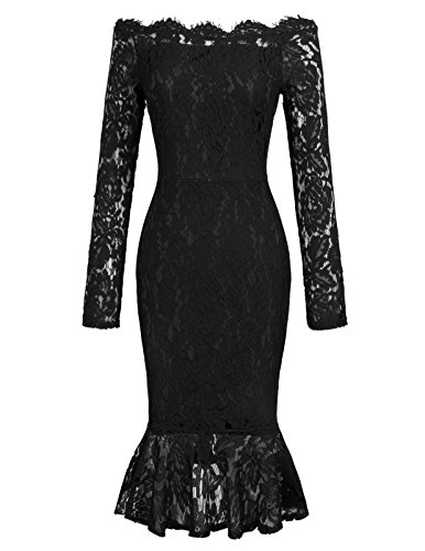 Grace Karin Women's 50s Floral Lace Boat Neck Formal Mermaid Dress XL Black 50s Nylon Lace