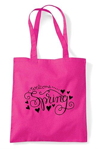 Bag Spring Shopper Statement Welcome Tote Fuschia HaPCwW7