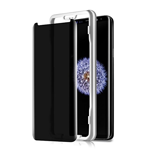 TECHO Privacy Screen Protector for Samsung Galaxy S9, Anti-Spy 9H Tempered Glass [Full Adhesive] [Case-Friendly] [Highly Responsive] [Anti-Scratch] [Easy Installation]