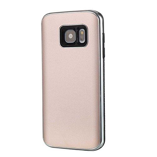 SRY-Funda móvil Samsung Para Samsung Galaxy S7, cubierta dura absorbente de choque híbrida desmontable de doble capa PC + TPU funda protectora ( Color : Gold ) Rosegold