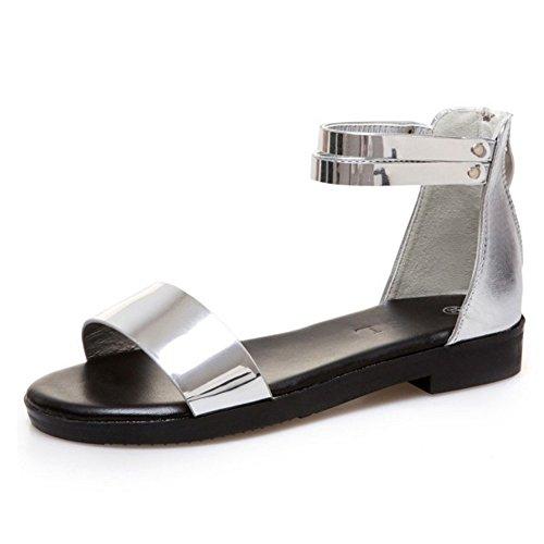 COOLCEPT Mujer Moda Correa de Tobillo Sandalias Plano Punta Abierta Zapatos Cremallera Plata