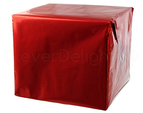 Paper Glitter Check - CleverDelights Metallic Red Wrapping Paper - 30