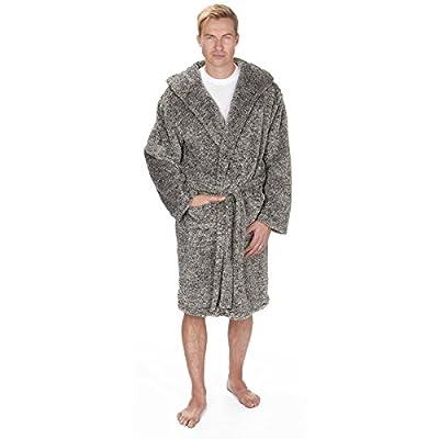 Pierre Roche Men's Hooded Snuggle Fleece Plush Bath Robe With Pockets