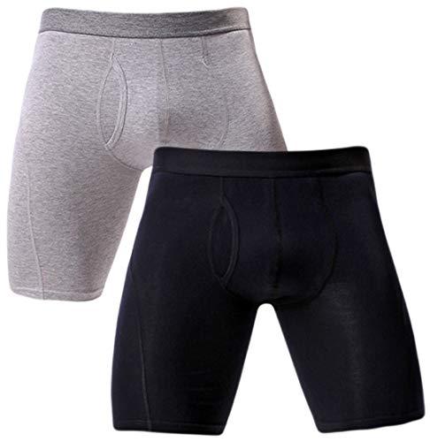 Rusaevon Mens Underwear Boxer Briefs Long Leg Premium Cotton Underwear Boxers for Men Pack