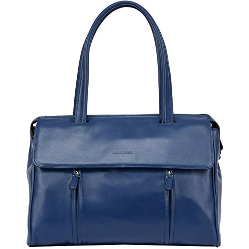 Nappa Leather Flap Bag - Banuce Blue Real Leather Shoulder Handbags for Women Ladies Top Handle Bag Busienss a4 Work Briefcase 14 Inch Laptop Bag