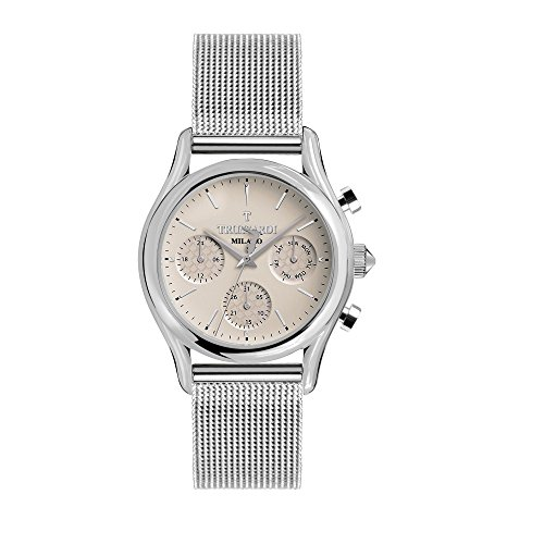 TRUSSARDI Men's T-Light Analog-Quartz Stainless-Steel Strap, Silver, 16 Casual Watch (Model: R2453127001) ()