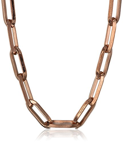 Stainless Steel Rectangular Open Link Chain Rose Gold Plated Necklace, 18""