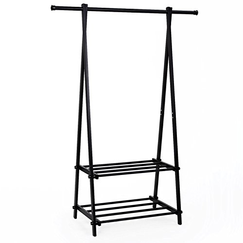 SONGMICS Clothing Garment Rack with 2-Tire Shelf for Shoes Clothes Storage Black URCR22B