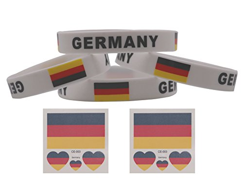 voidsyn Germany Flag Silicone Rubber Wristband Bracelets,Tattoo Stickers for Soccer Fans,FIFA World Cup 2018 Show Your Support for GERMANY NATIONAL TEAM and Müller,Germany Soccer Jersey 2018