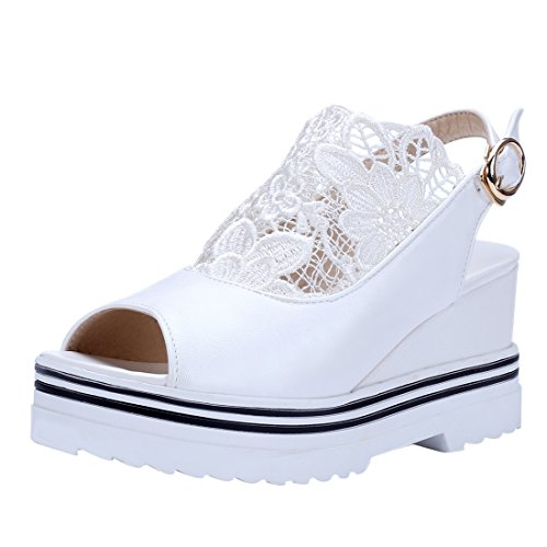 Lace Toe Bride Slingback avec Fleur Douce Compensees Femmes UH Elegantes Talons et Cheville Blanc Sandales Peep à de EX8nqCw