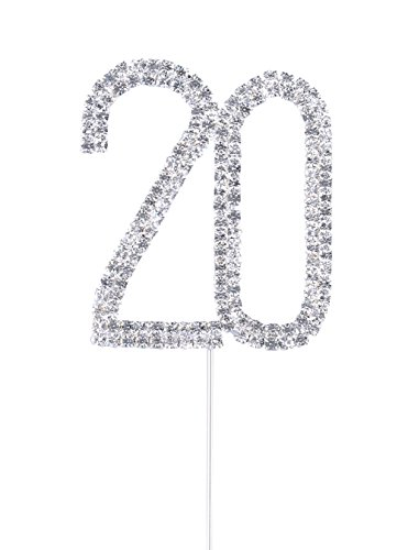 Langxun Number 20 Silver Rhinestone Cake Topper for 20th Anniversary & Birthday & Party Supply (Buckle Number)