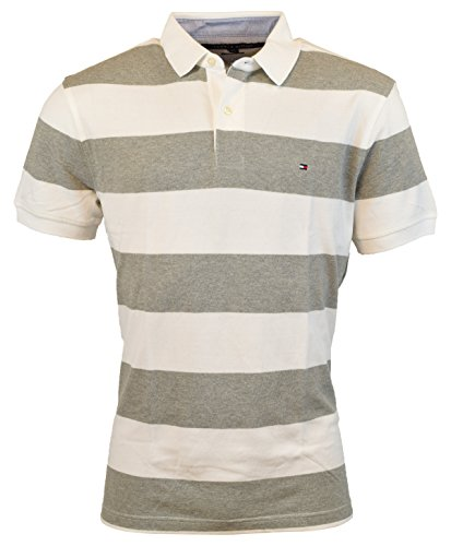 Xl Striped Polo (Tommy Hilfiger Mens Custom Fit Striped Cotton Polo Shirt - XL - Gray/White)