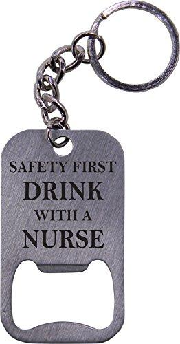 Drink with a Nurse Rn Bottle Opener Key Chain - Great Gift for a CNA, RN, LPN Nurse, Nursing Student or Nursing Graduate
