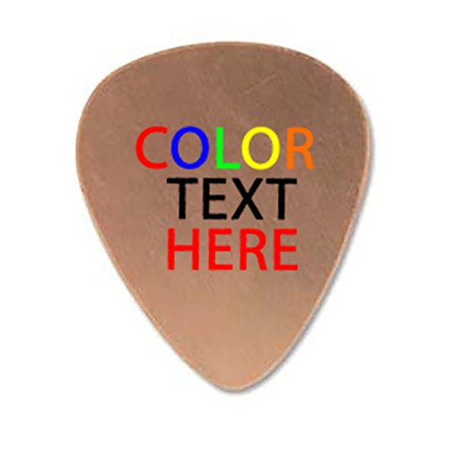 Personalized Add Your Own COLOR Printed Text Guitar and Bass Pick Custom Customizable Gift COPPER -