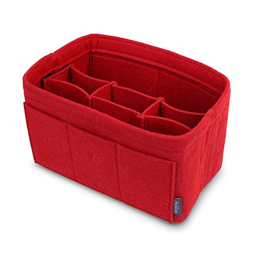 - Pelikus Felt Purse and Tote Organizer Insert/Sturdy Handbag Shaper (Medium with Center Divider, Red)