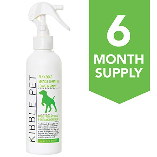Kibble Pet Miracle Detangling Spray Aloe Vera & Honey | Hypoallergenic | Made with Natural and Organic Ingredients | 6 Month Supply | Made in The USA | 7.1oz | for Dogs