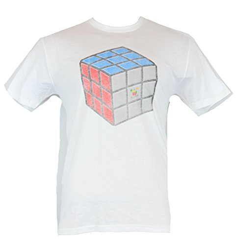 Rubik's Cube Mens T-Shirt - Distressed Faded Cube Image (Large) White