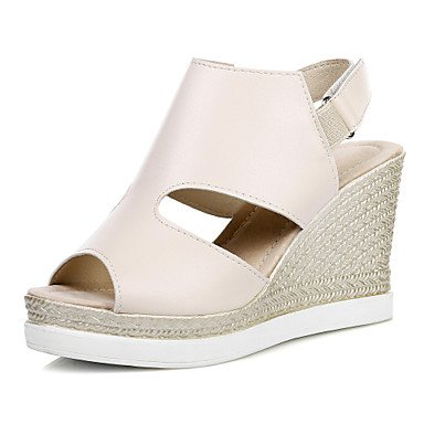 Vestido Sandalias club Exterior Informal KYDJ Semicuero del Mujer Silver Cuña Tacón Zapatos nqpnwfZY8